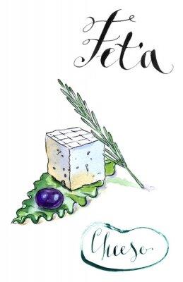 Naklejka Delicious plasterki grecki ser feta z oliwek, rozmaryn i Sala