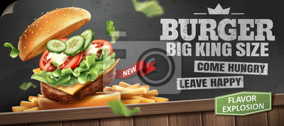 Naklejka Deluxe king size burger ads