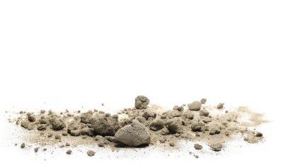 Naklejka Desert sand pile and chunks isolated on white background