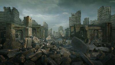 Naklejka Desolate ruined landscape with a moody overtone.
