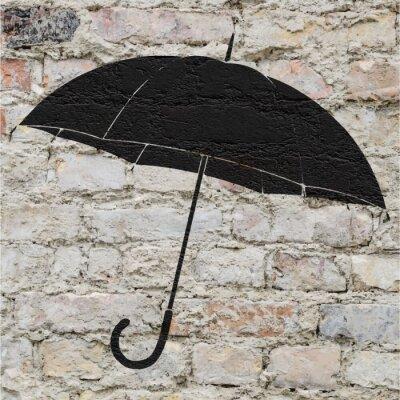 Naklejka Dessin d'un parapluie sur un mur