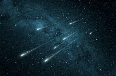 Naklejka deszcz meteorów w rozgwieżdżone niebo