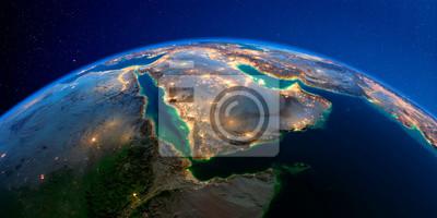 Naklejka Detailed Earth at night. Saudi Arabia