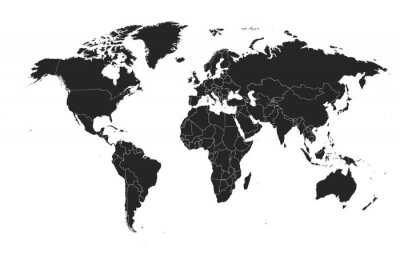 Naklejka Detailed, high resolution, accurate vector map of the world