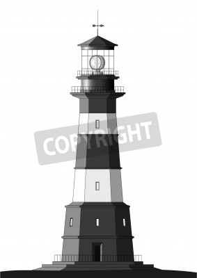 Naklejka detailed lighthouse isolated on white