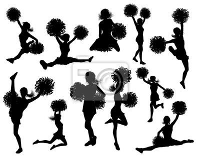 Detailed silhouette cheerleaders holding pom poms
