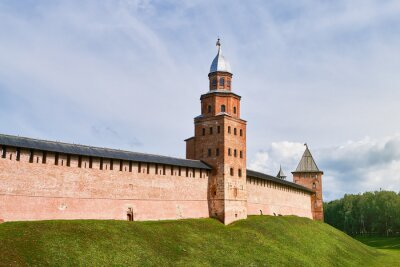 Detinets or Novgorod Kremlin red brick fortress walls. Kokui watchtower in summer day in Veliky Novgorod, Russia. Travel concept, copy space