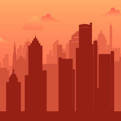 Detroit, USA famous city scape view background.