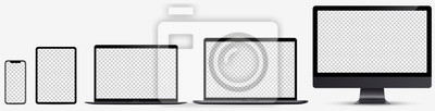 Naklejka Device screen mockup. Smartphone, tablet, laptop and monoblock monitor, with blank screen for you design. Vector EPS10