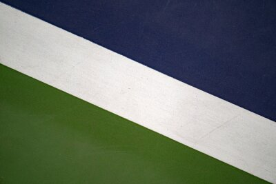 diagonal white line in blue and green tennis court, texture for background