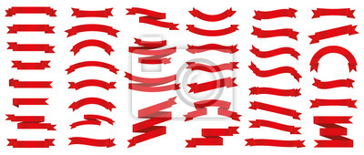 Naklejka Different red ribbons banners collection. Vector illustration