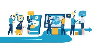 Naklejka Digital business work. Business vector illustration. Large business team. Teamwork.
