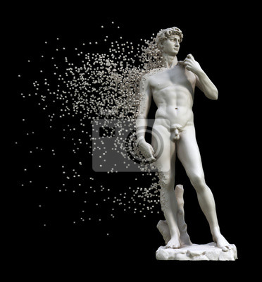 Digital Disintegration Of Sculpture David Isolated On Black Background