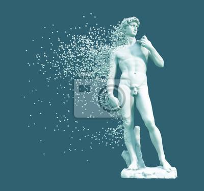 Digital Disintegration Of Sculpture David On Blue Background
