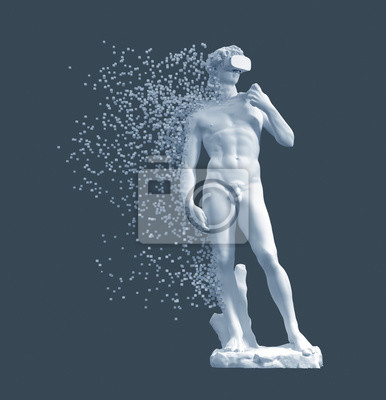 Digital Disintegration Of Sculpture David With VR Glasses On Blue Background