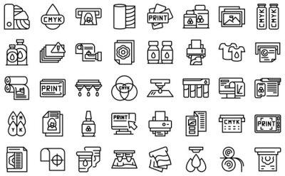 Naklejka Digital printing icons set. Outline set of digital printing vector icons for web design isolated on white background
