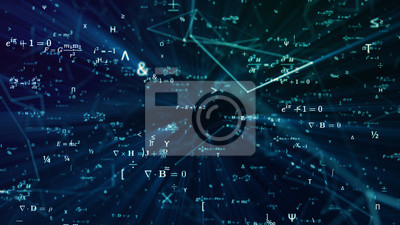 Naklejka Digital seamless mathematical formulas. Abstract digital futuristic background with math, physics symbols and mesh network grid. 3D illustration in 4K science concept