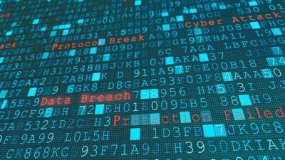 Naklejka Digital wall virus data breach, system failure due to hacker server cyber attack