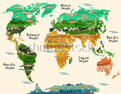 Naklejka Dinosaurs map of the world for children and kids