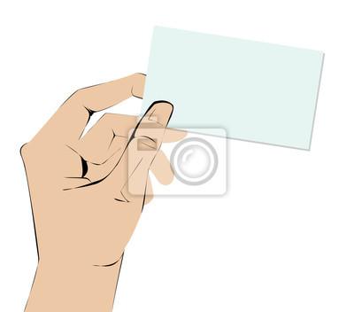 Dłoń trzymająca pustej wizytówki.