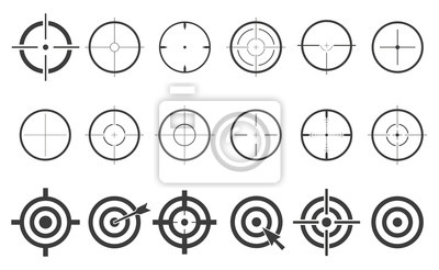 Naklejka Docelowe zestaw ikon sight snajper symbol wyizolowanych na białym tle, krzyżyk i cel ilustracji wektorowych stylowe na web design EPS10