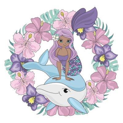 Naklejka DOLPHIN WREATH Floral Mermaid Cartoon Underwater Sea Ocean Cruise Travel Tropical Animal Vector Illustration Set for Print Fabric and Decoration