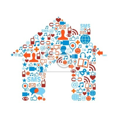 Naklejka Dom symbol ikony tekstury z mediami