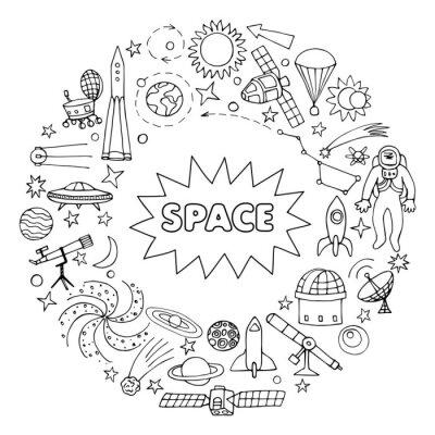 Naklejka Doodle elementy kosmiczne