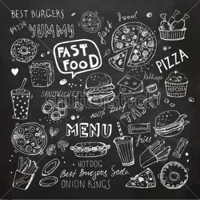 Naklejka Doodle fast food. Ręcznie opracowane symbole wektorowe i obiekty