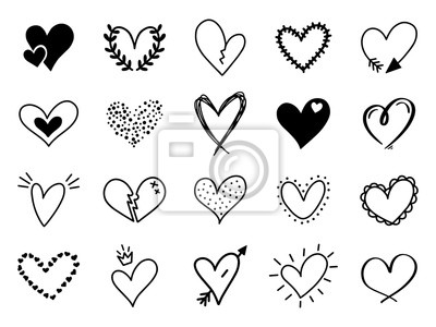 Naklejka Doodle love heart. Loving cute hand drawn sketched hearts, doodle valentine heart shape drawing elements for greeting cards and valentines day design vector isolated icons set. Sketchy amour pack