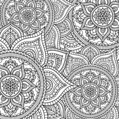 Naklejka Doodle pattern with ethnic mandala ornament. Black and white illustration. Outline. Coloring page for coloring book.
