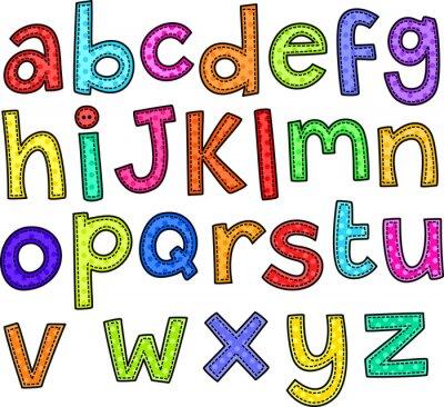 Naklejka Doodle styl ściegu zestaw ręcznie rysowane litery alfabetu.