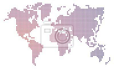 Naklejka Dot mapa świata