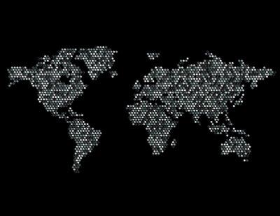 Naklejka Dotted mapę świata Kontynenty Losowe Graya