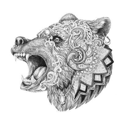Naklejka Dotwork, tatuaż, szef rozwścieczony niedźwiedź