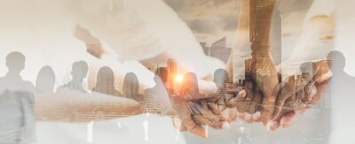 Naklejka Double exposure panoramic teamwork business join hand together with silhouette business people and modern city background. Business team standing hands together, Volunteer charity work.