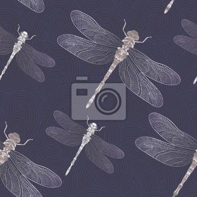 Dragonfly na ciemnoniebieskim tle