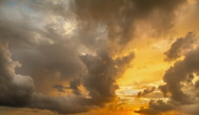 Dramatic sky at sunset in the springtime