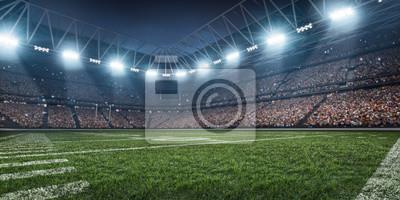 Naklejka Dramatyczna 3D profesjonalna arena futbolu amerykańskiego z zielonej trawie i promienie światła