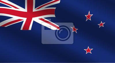 Drapeau Nouvelle-Zélande au vent