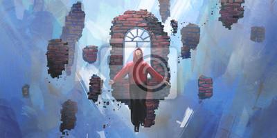 Naklejka Dreams, people floating in the void, digital painting.