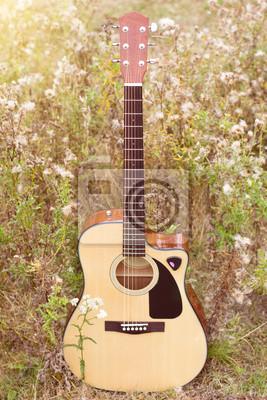 Drewniane gitara akustyczna na polu