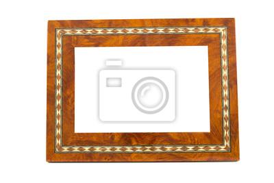 drewniane ramki na białym tle