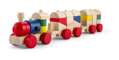 Naklejka Drewniane zabawki pociągu z kolorowych bloków odizolowane na białym