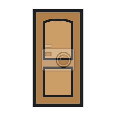 Drewniane zamknięte drzwi wejściowe Nowoczesne wnętrza.