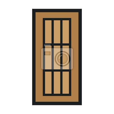 Drewniane zamknięte drzwi wejściowe Nowoczesne wnętrza. Minimalna kolor linii płaskiej zarys ikona ilustracja