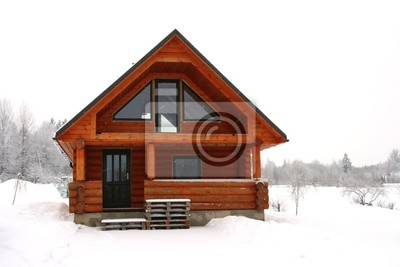 drewniany domek w snowy miejscu