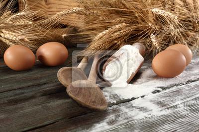 Naklejka drewniany stół i mąki