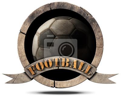 Drewniany symbol Soccer Ball / drewniane okrągłe symbolu starego czarno-białe piłki nożnej (piłka nożna) i drewniane wstążki z tekstem Football. Pojedynczo na białym tle