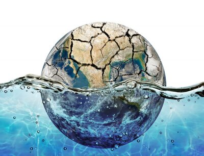 Naklejka Dried up planet immersed in the waters of world ocean